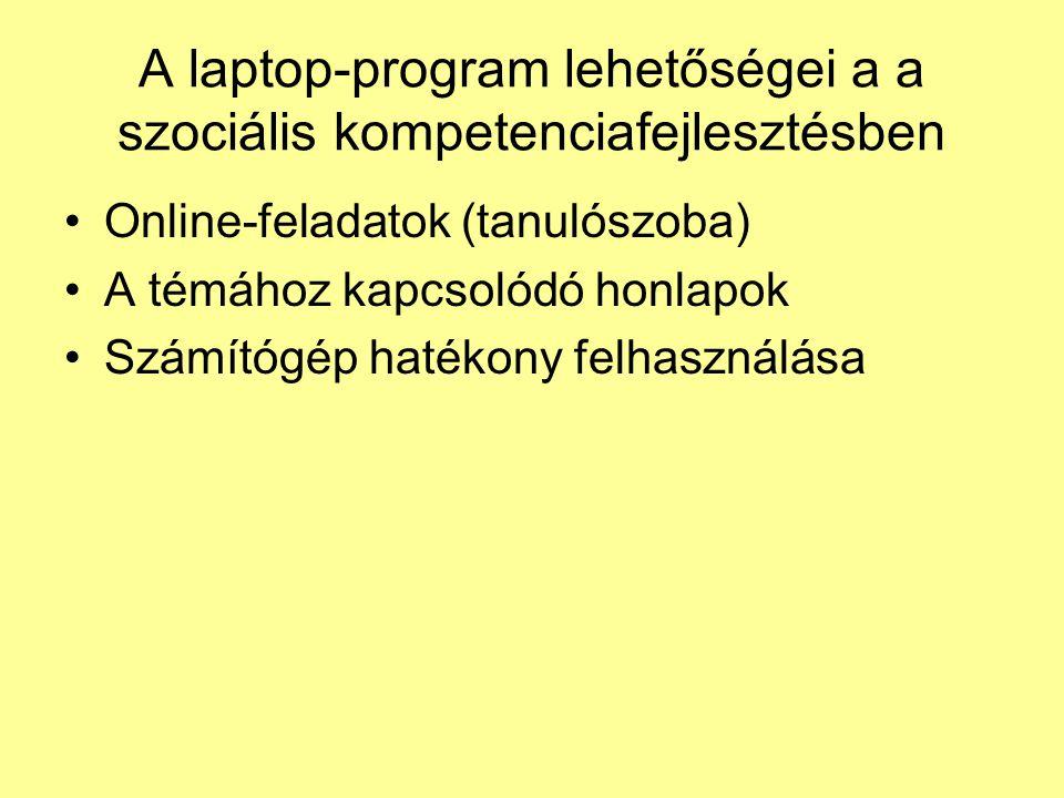 A laptop-program lehetőségei a a szociális kompetenciafejlesztésben •Online-feladatok (tanulószoba) •A témához kapcsolódó honlapok •Számítógép hatékony felhasználása