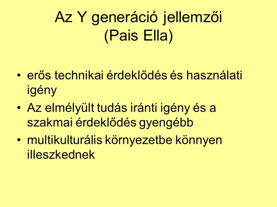 Az Y generáció jellemzői (Pais Ella) •erős technikai érdeklődés és használati igény •Az elmélyült tudás iránti igény és a szakmai érdeklődés gyengébb •multikulturális környezetbe könnyen illeszkednek