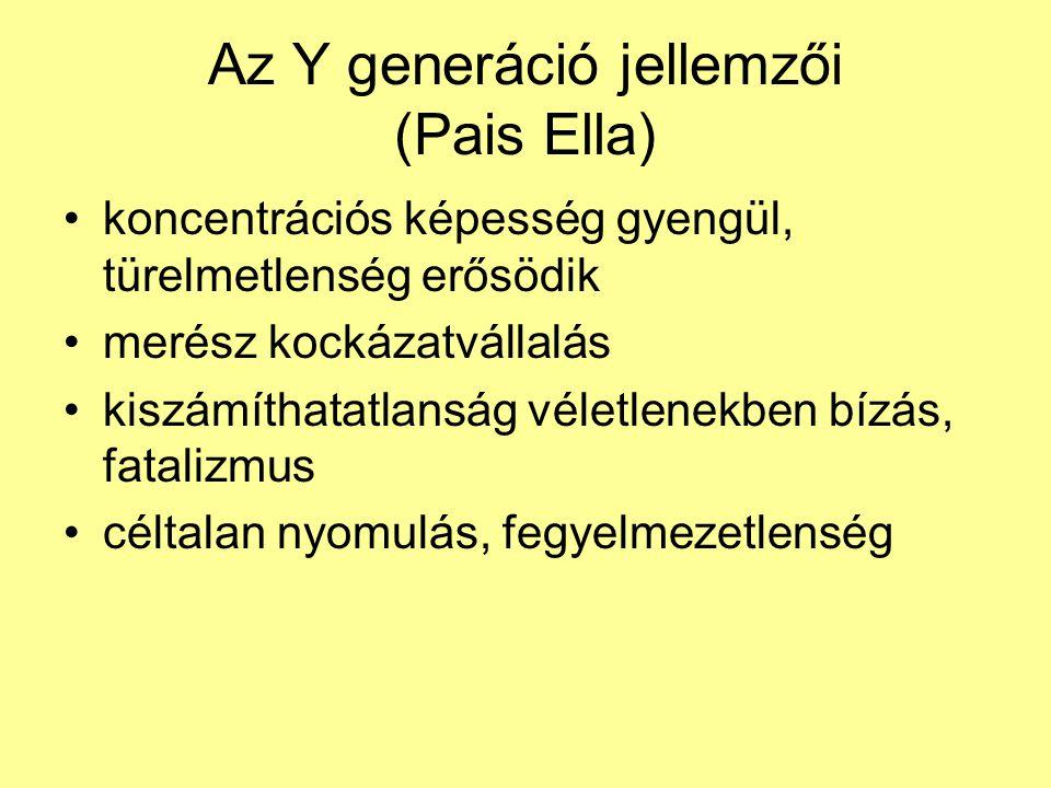 Az Y generáció jellemzői (Pais Ella) •koncentrációs képesség gyengül, türelmetlenség erősödik •merész kockázatvállalás •kiszámíthatatlanság véletlenekben bízás, fatalizmus •céltalan nyomulás, fegyelmezetlenség