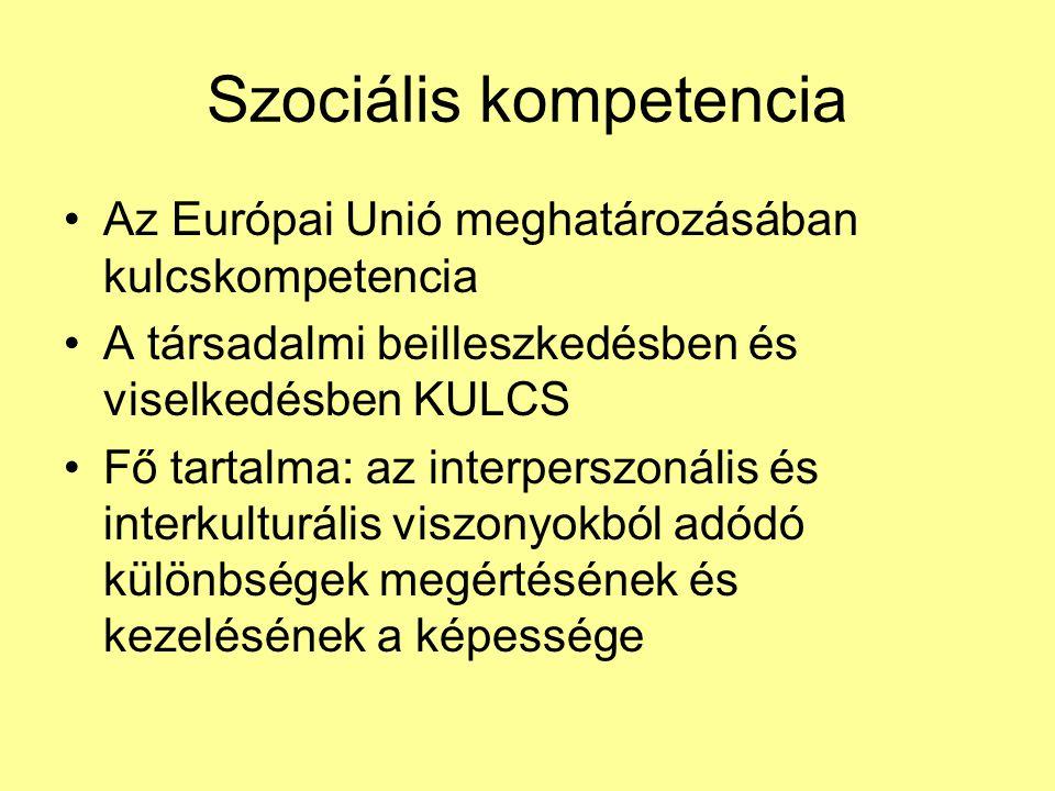 Szociális kompetencia •Az Európai Unió meghatározásában kulcskompetencia •A társadalmi beilleszkedésben és viselkedésben KULCS •Fő tartalma: az interperszonális és interkulturális viszonyokból adódó különbségek megértésének és kezelésének a képessége