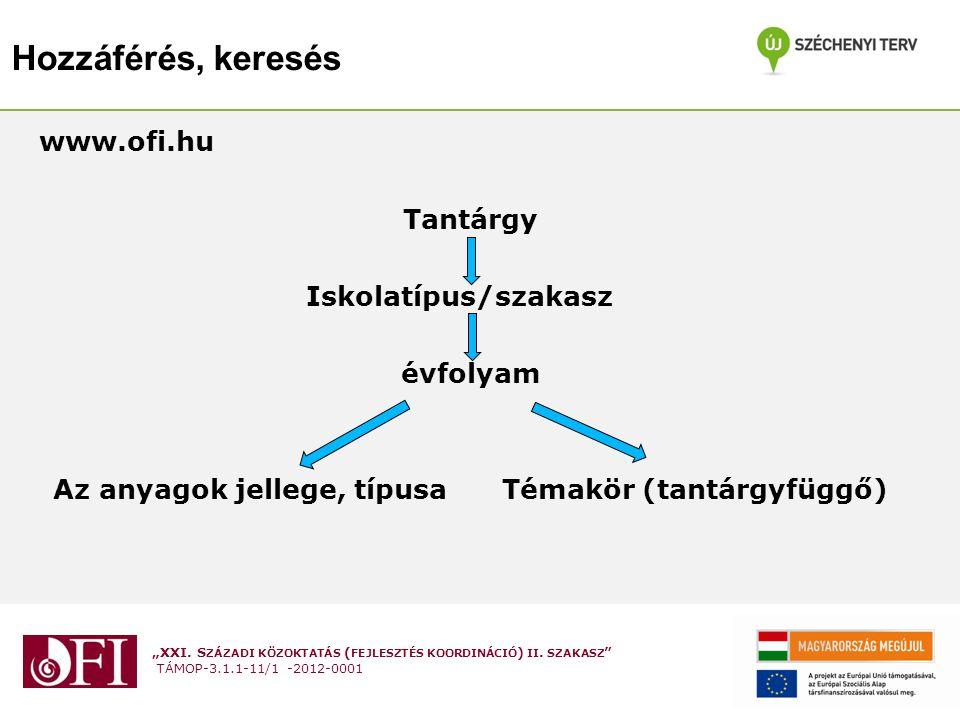 """""""XXI. S ZÁZADI KÖZOKTATÁS ( FEJLESZTÉS KOORDINÁCIÓ ) II. SZAKASZ """" TÁMOP-3.1.1-11/1 -2012-0001 Hozzáférés, keresés www.ofi.hu Tantárgy Iskolatípus/sza"""