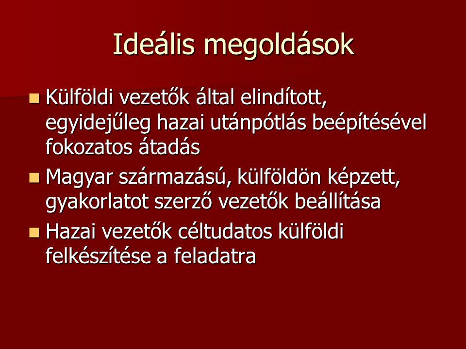 Ideális megoldások  Külföldi vezetők által elindított, egyidejűleg hazai utánpótlás beépítésével fokozatos átadás  Magyar származású, külföldön képz