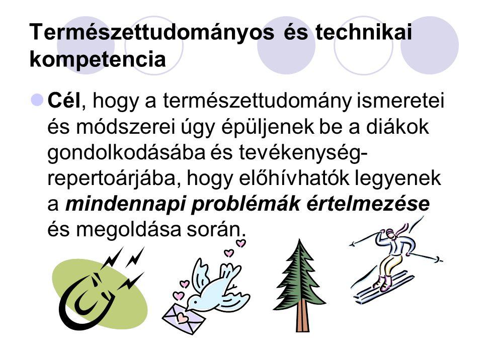 Természettudományos és technikai kompetencia  Cél, hogy a természettudomány ismeretei és módszerei úgy épüljenek be a diákok gondolkodásába és tevéke
