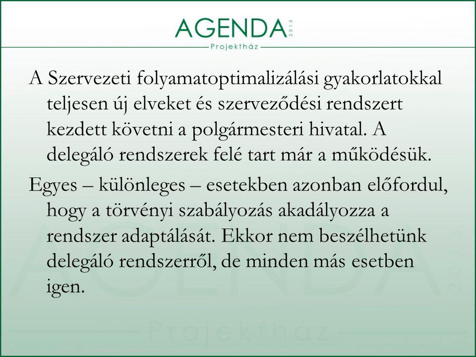 A Szervezeti folyamatoptimalizálási gyakorlatokkal teljesen új elveket és szerveződési rendszert kezdett követni a polgármesteri hivatal.