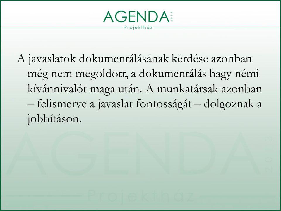 A javaslatok dokumentálásának kérdése azonban még nem megoldott, a dokumentálás hagy némi kívánnivalót maga után.