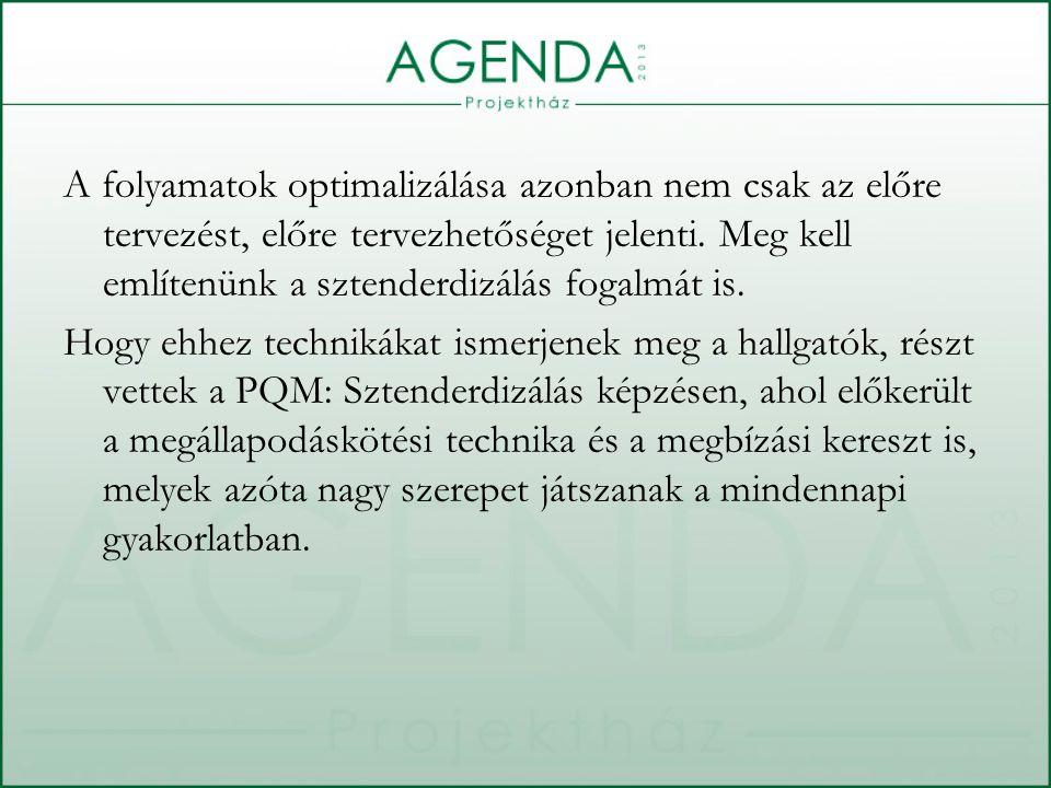 A folyamatok optimalizálása azonban nem csak az előre tervezést, előre tervezhetőséget jelenti.