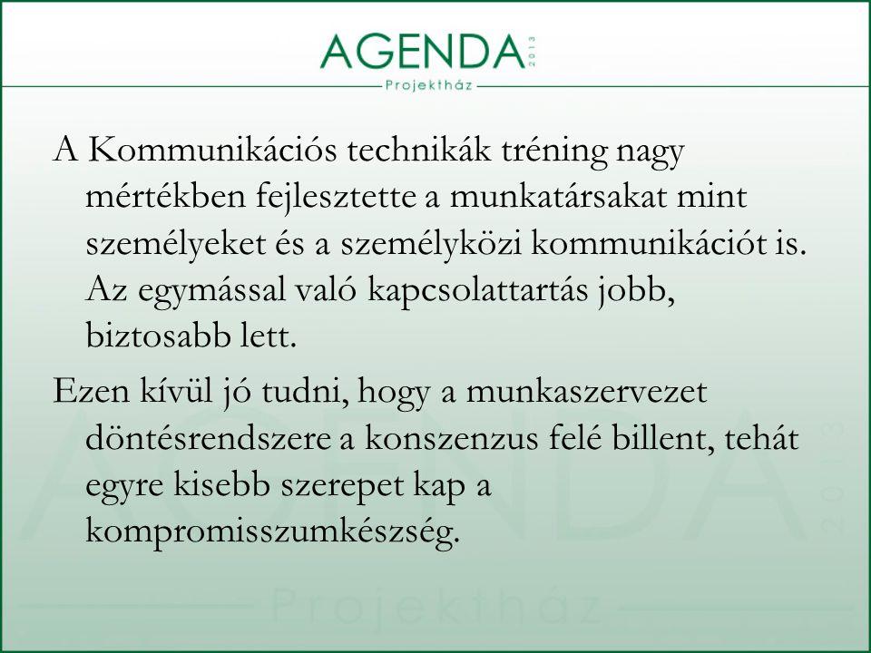 A Kommunikációs technikák tréning nagy mértékben fejlesztette a munkatársakat mint személyeket és a személyközi kommunikációt is.