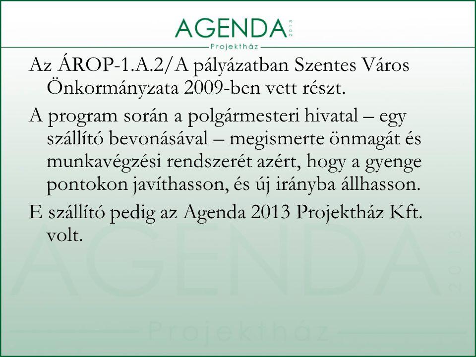 Az ÁROP-1.A.2/A pályázatban Szentes Város Önkormányzata 2009-ben vett részt.