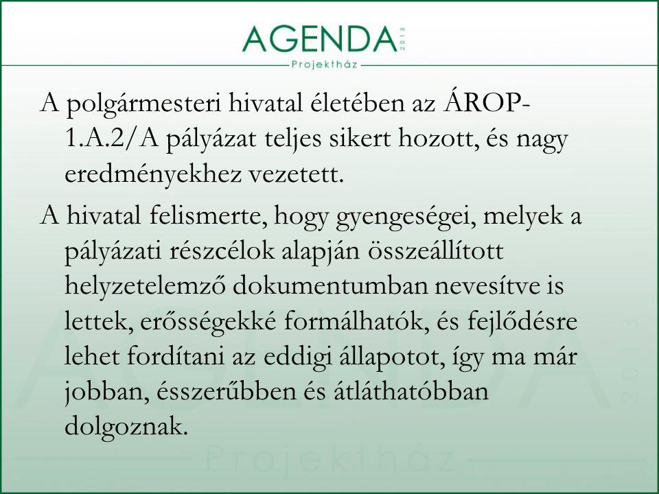 A polgármesteri hivatal életében az ÁROP- 1.A.2/A pályázat teljes sikert hozott, és nagy eredményekhez vezetett.