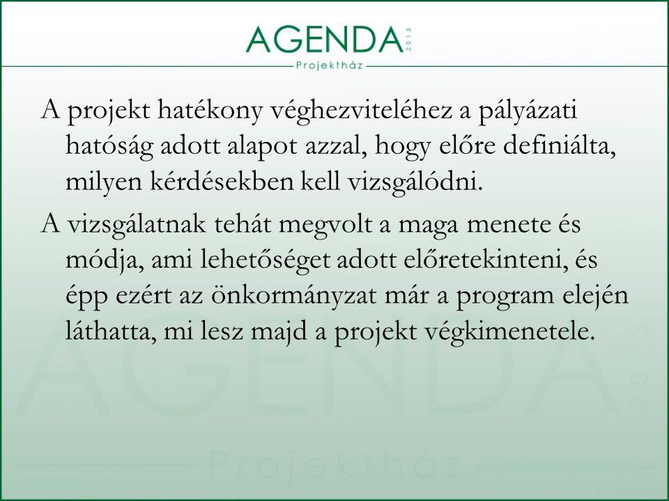 A projekt hatékony véghezviteléhez a pályázati hatóság adott alapot azzal, hogy előre definiálta, milyen kérdésekben kell vizsgálódni.
