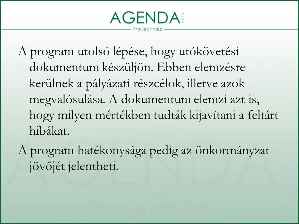 A program utolsó lépése, hogy utókövetési dokumentum készüljön.