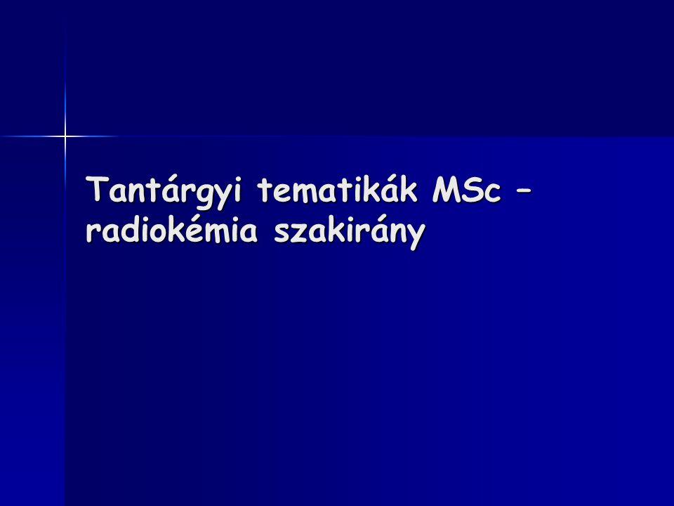 Tantárgyi tematikák MSc – radiokémia szakirány