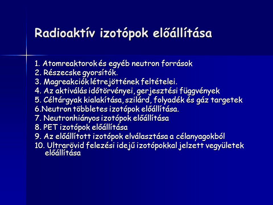 Radioaktív izotópok előállítása 1. Atomreaktorok és egyéb neutron források 2. Részecske gyorsítók. 3. Magreakciók létrejöttének feltételei. 4. Az akti