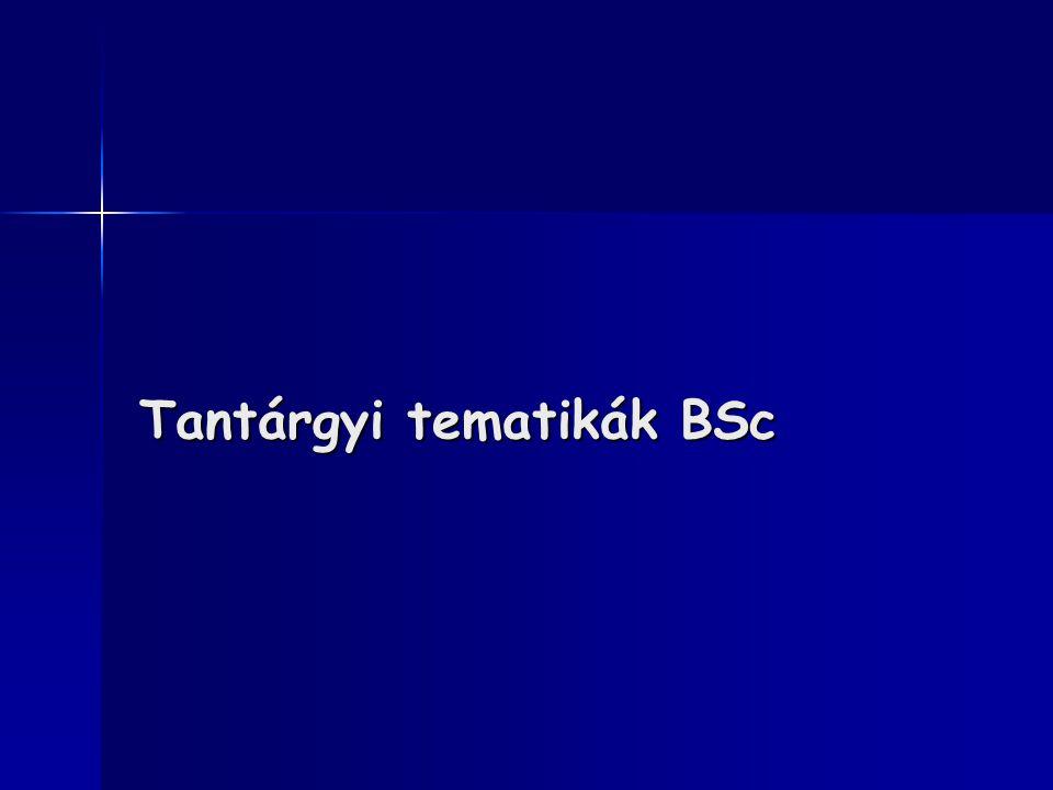 Tantárgyi tematikák BSc