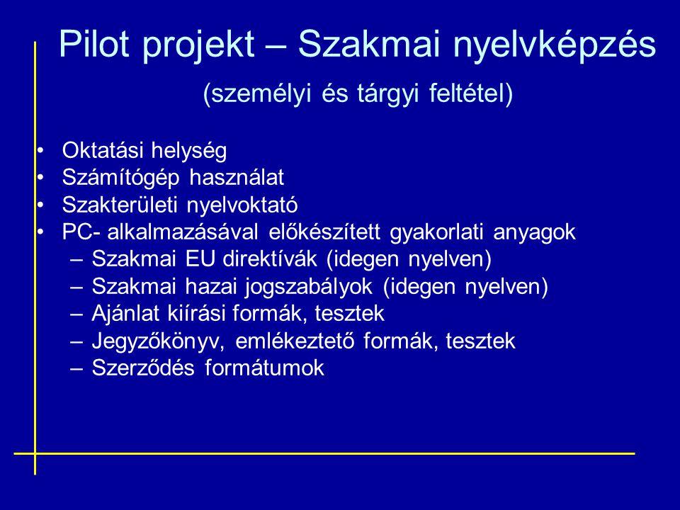 Pilot projekt – Szakmai nyelvképzés (személyi és tárgyi feltétel) •Oktatási helység •Számítógép használat •Szakterületi nyelvoktató •PC- alkalmazásáva