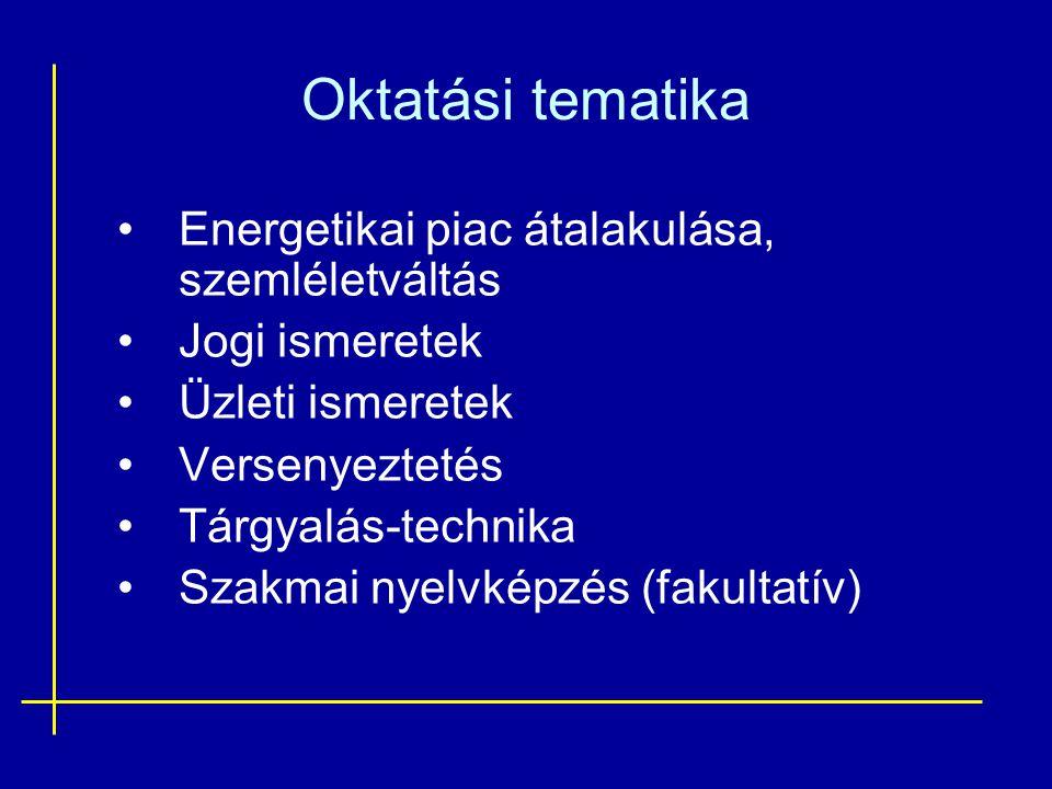 Oktatási tematika •Energetikai piac átalakulása, szemléletváltás •Jogi ismeretek •Üzleti ismeretek •Versenyeztetés •Tárgyalás-technika •Szakmai nyelvk