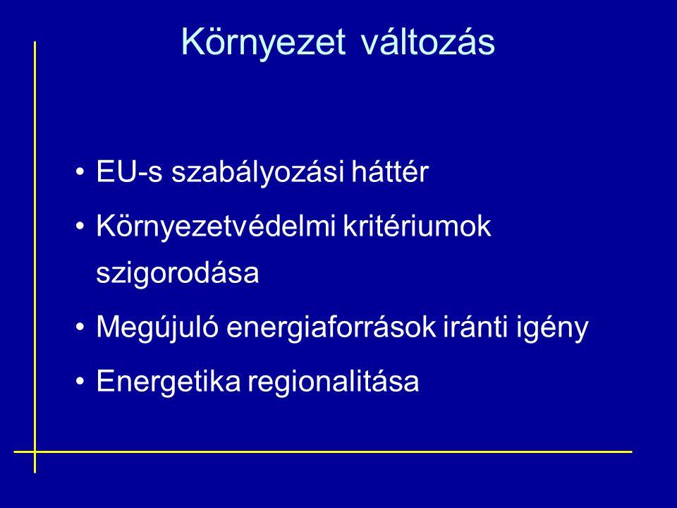 Környezet változás •EU-s szabályozási háttér •Környezetvédelmi kritériumok szigorodása •Megújuló energiaforrások iránti igény •Energetika regionalitás