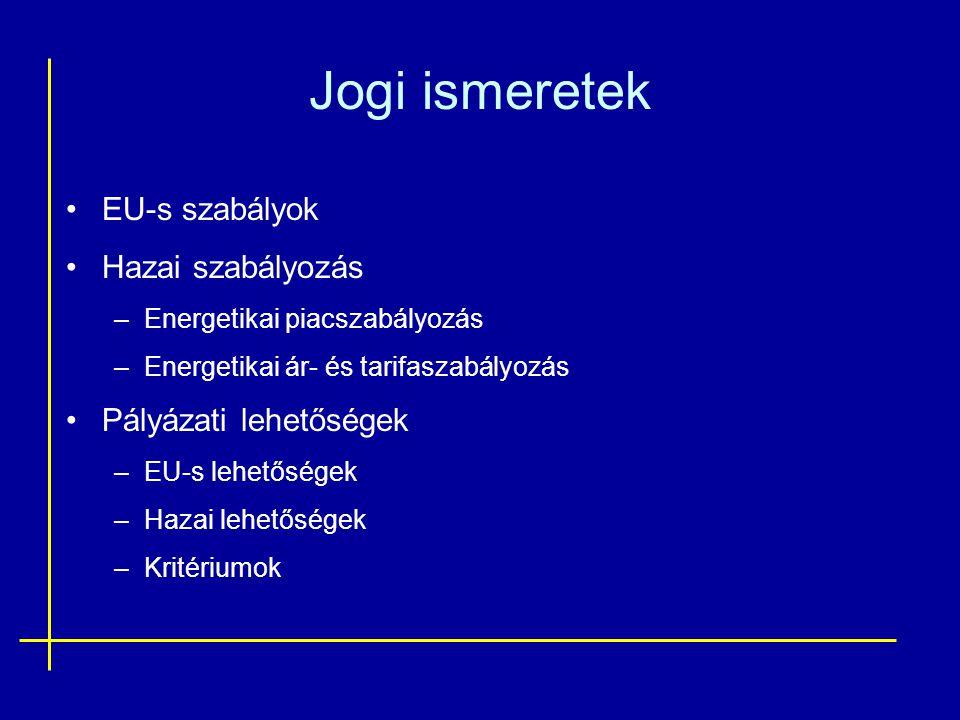 Jogi ismeretek •EU-s szabályok •Hazai szabályozás –Energetikai piacszabályozás –Energetikai ár- és tarifaszabályozás •Pályázati lehetőségek –EU-s lehe