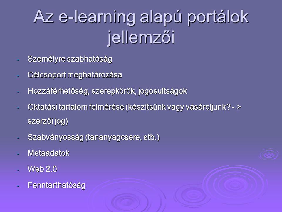 Az e-learning alapú portálok jellemzői - Személyre szabhatóság - Célcsoport meghatározása - Hozzáférhetőség, szerepkörök, jogosultságok - Oktatási tar