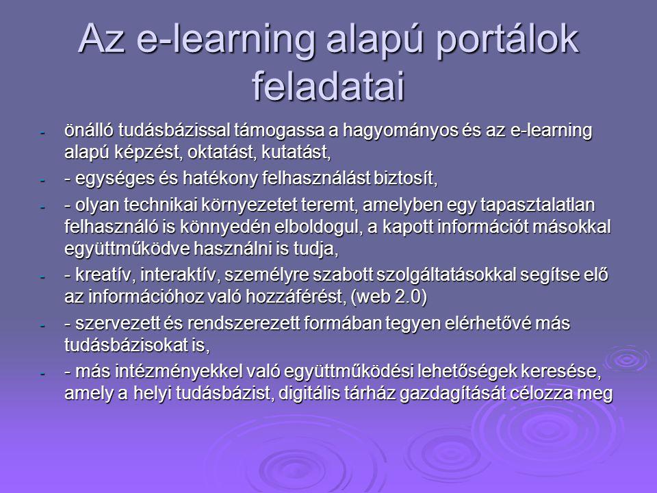 Az e-learning alapú portálok feladatai - önálló tudásbázissal támogassa a hagyományos és az e-learning alapú képzést, oktatást, kutatást, - - egységes