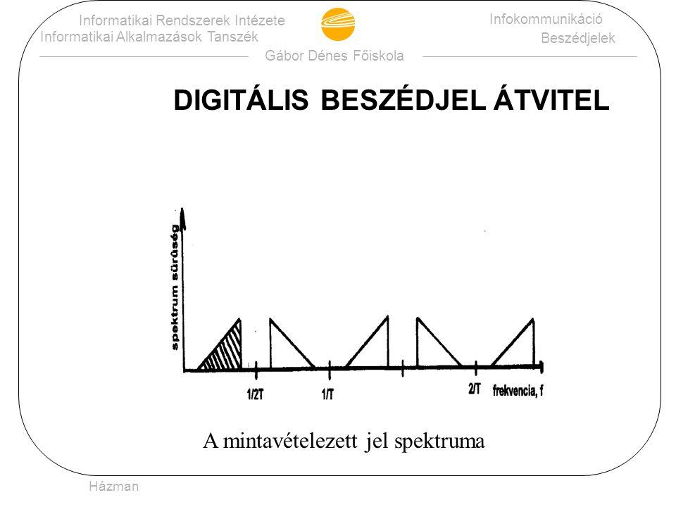 Gábor Dénes Főiskola Informatikai Rendszerek Intézete Informatikai Alkalmazások Tanszék Infokommunikáció Beszédjelek Házman DIGITÁLIS BESZÉDJEL ÁTVITEL : •analóg sávhatárolt jel (300-3400 Hz) mintavételezése (8000 Hz) •mintavételezett jel amplitudóinak kvantálása (128+127=255 szintre) •kvantált mintákat kettes számrendszerben (bináris) való kódolása