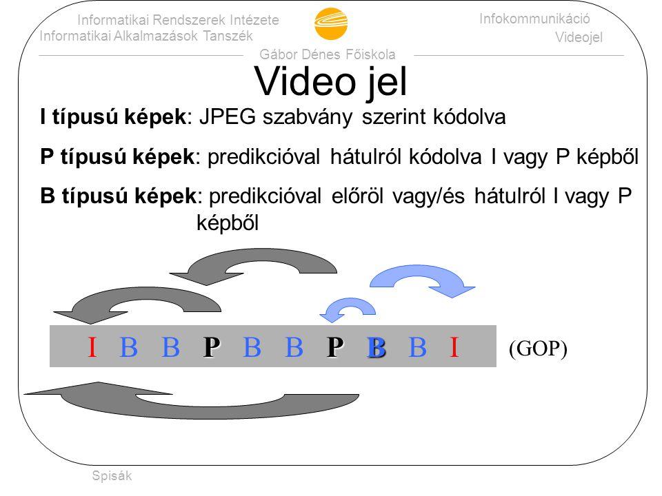 Gábor Dénes Főiskola Informatikai Rendszerek Intézete Informatikai Alkalmazások Tanszék Infokommunikáció Videojel Spisák Ugyanezt az eljárást alkalmazva az X mátrixra (ami csupa 98-ból áll): A továbbítandó adatok: 49 és 63 db.