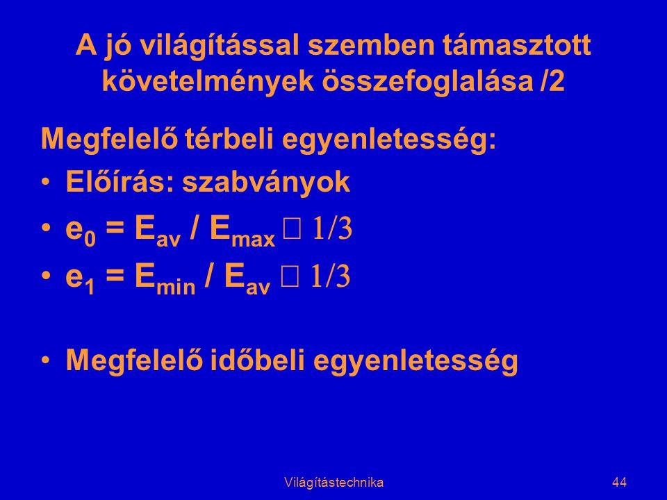 Világítástechnika44 A jó világítással szemben támasztott követelmények összefoglalása /2 Megfelelő térbeli egyenletesség: •Előírás: szabványok •e 0 = E av / E max  •e 1 = E min / E av  •Megfelelő időbeli egyenletesség