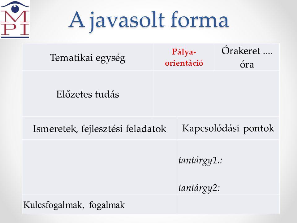 A javasolt forma Tematikai egység Pálya- orientáció Órakeret.... óra Előzetes tudás Ismeretek, fejlesztési feladatok Kapcsolódási pontok tantárgy1.: t