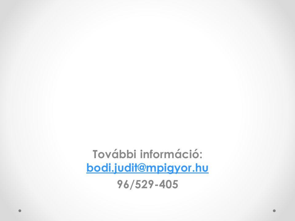 További információ: bodi.judit@mpigyor.hu bodi.judit@mpigyor.hu 96/529-405