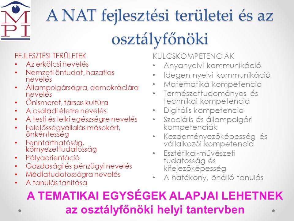 A NAT fejlesztési területei és az osztályfőnöki KULCSKOMPETENCIÁK • Anyanyelvi kommunikáció • Idegen nyelvi kommunikáció • Matematika kompetencia • Te