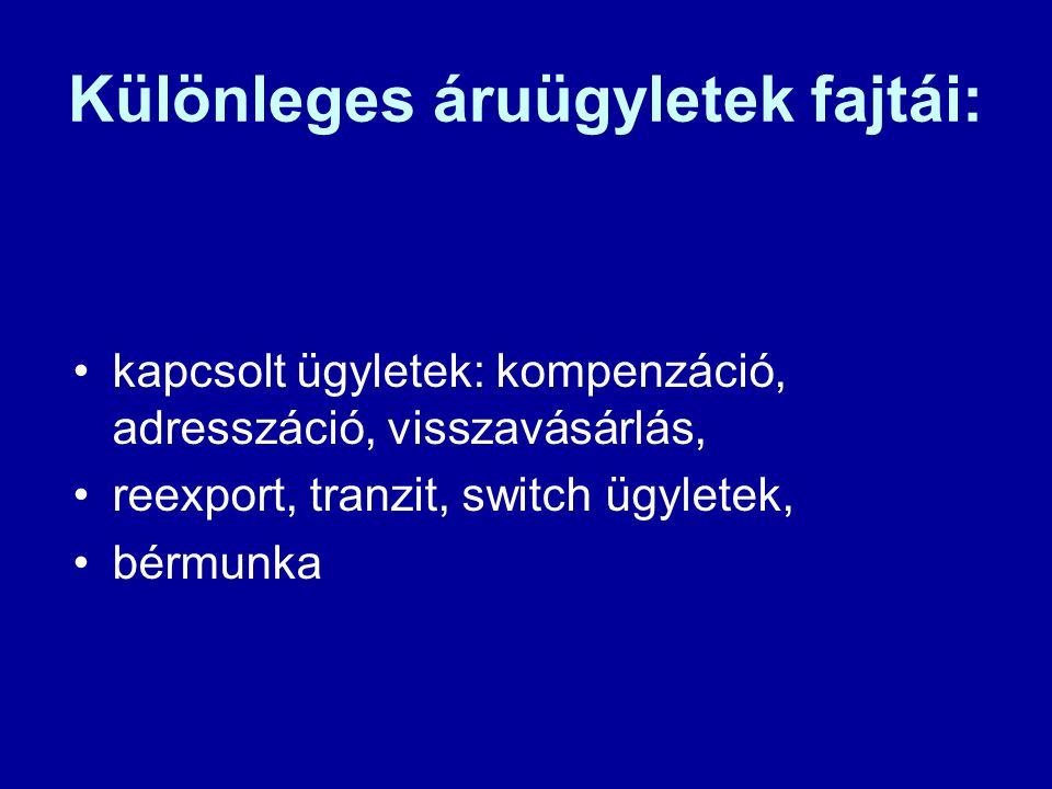 Különleges áruügyletek fajtái: •kapcsolt ügyletek: kompenzáció, adresszáció, visszavásárlás, •reexport, tranzit, switch ügyletek, •bérmunka