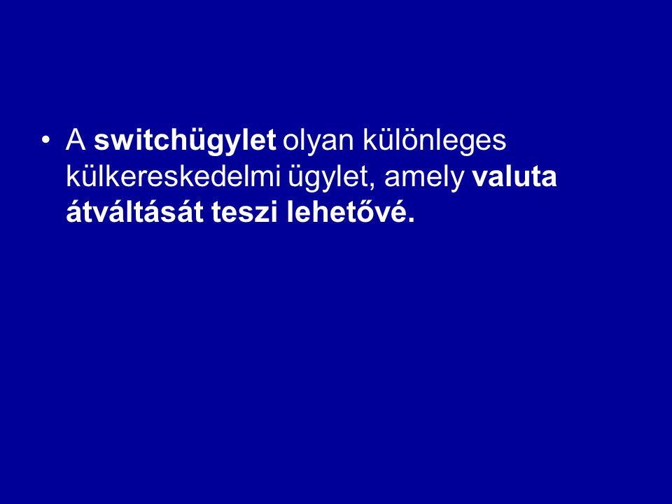 •A switchügylet olyan különleges külkereskedelmi ügylet, amely valuta átváltását teszi lehetővé.