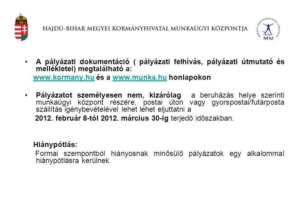 •A pályázati dokumentáció ( pályázati felhívás, pályázati útmutató és mellékletei) megtalálható a: www.kormany.hu és a www.munka.hu honlapokonwww.korm