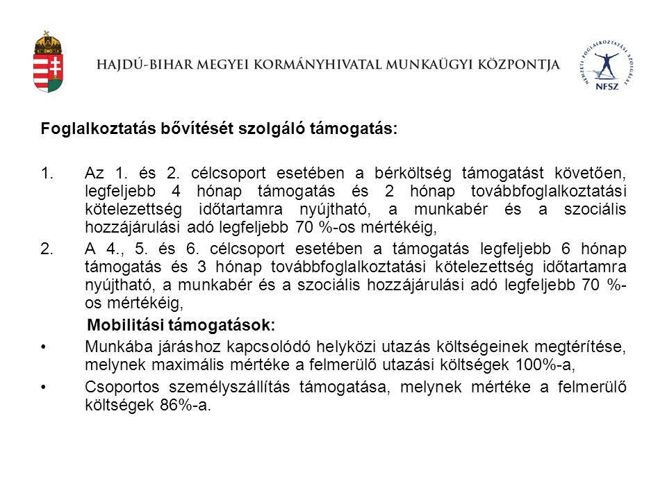 Foglalkoztatás bővítését szolgáló támogatás: 1.Az 1. és 2. célcsoport esetében a bérköltség támogatást követően, legfeljebb 4 hónap támogatás és 2 hón