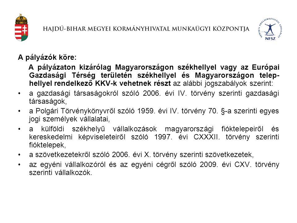 A pályázók köre: A pályázaton kizárólag Magyarországon székhellyel vagy az Európai Gazdasági Térség területén székhellyel és Magyarországon telep- hel