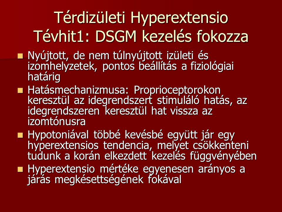 Térdizületi Hyperextensio Tévhit1: DSGM kezelés fokozza  Nyújtott, de nem túlnyújtott izületi és izomhelyzetek, pontos beállítás a fiziológiai határi