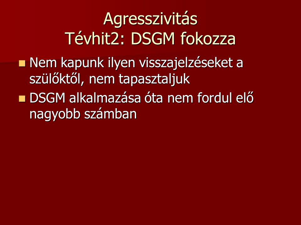 Agresszivitás Tévhit2: DSGM fokozza  Nem kapunk ilyen visszajelzéseket a szülőktől, nem tapasztaljuk  DSGM alkalmazása óta nem fordul elő nagyobb sz