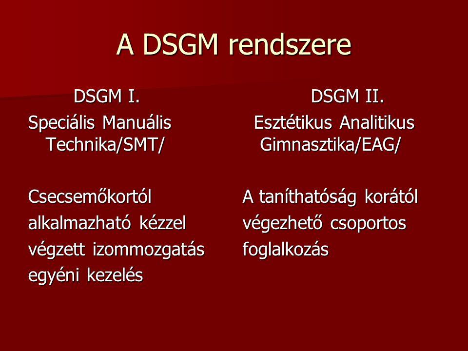 A DSGM rendszere DSGM I. DSGM I. Speciális Manuális Technika/SMT/ Csecsemőkortól alkalmazható kézzel végzett izommozgatás egyéni kezelés DSGM II. DSGM