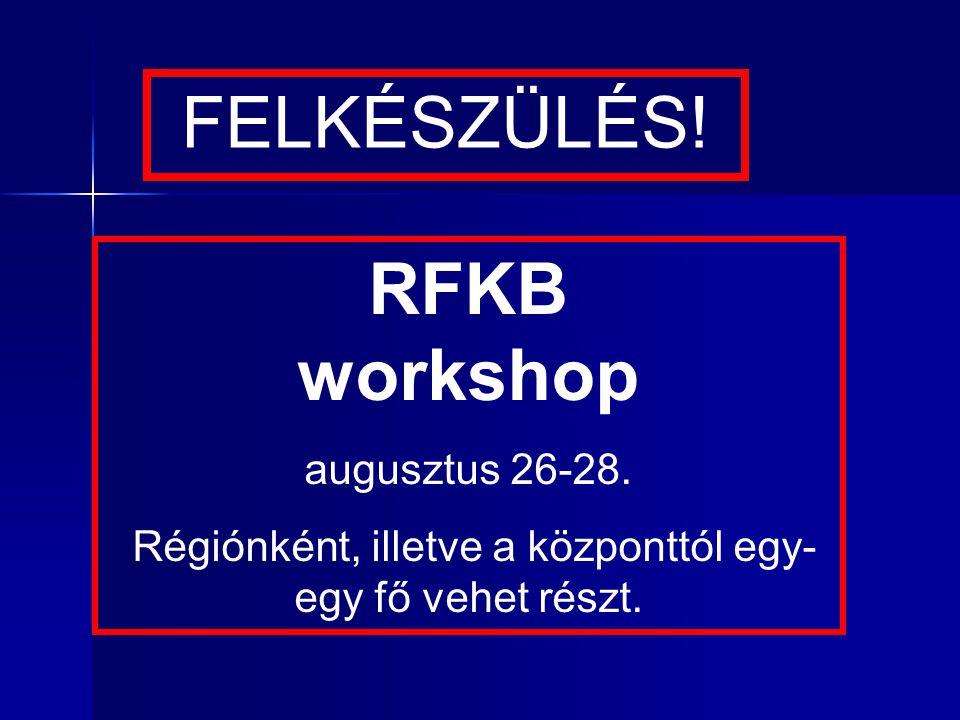 RFKB workshop augusztus 26-28. Régiónként, illetve a központtól egy- egy fő vehet részt.