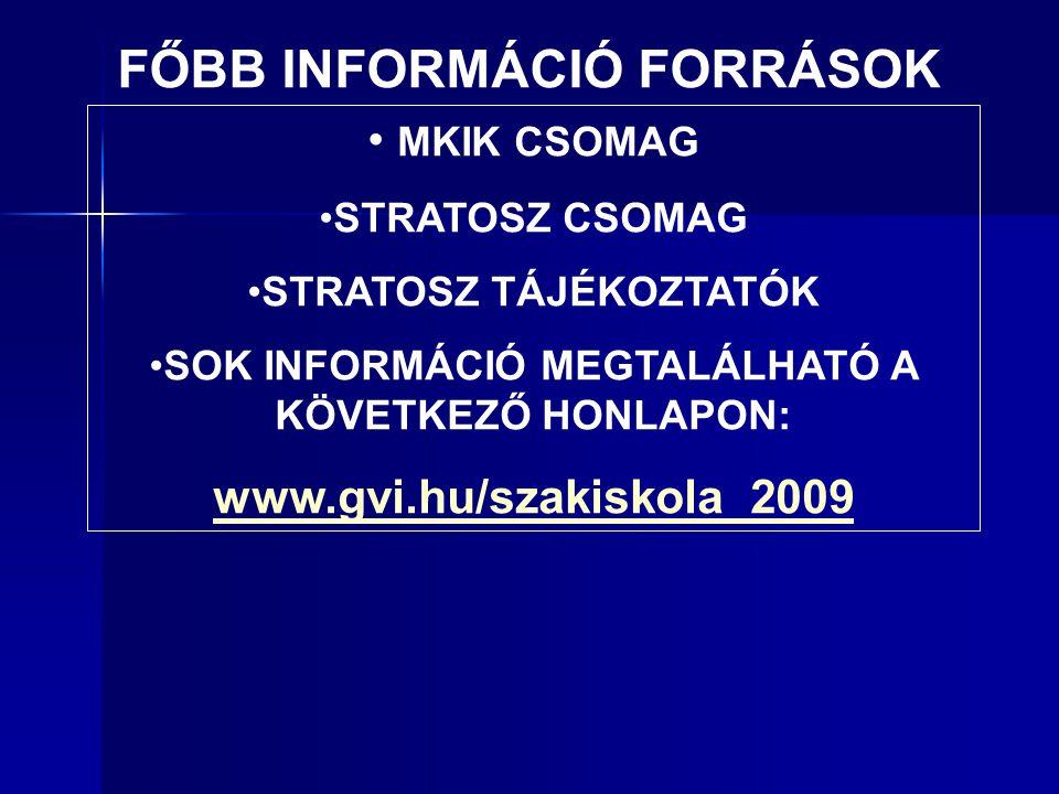 • MKIK CSOMAG •STRATOSZ CSOMAG •STRATOSZ TÁJÉKOZTATÓK •SOK INFORMÁCIÓ MEGTALÁLHATÓ A KÖVETKEZŐ HONLAPON: www.gvi.hu/szakiskola_2009 FŐBB INFORMÁCIÓ FORRÁSOK