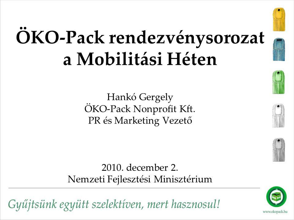 ÖKO-Pack rendezvénysorozat a Mobilitási Héten Hankó Gergely ÖKO-Pack Nonprofit Kft. PR és Marketing Vezető 2010. december 2. Nemzeti Fejlesztési Minis
