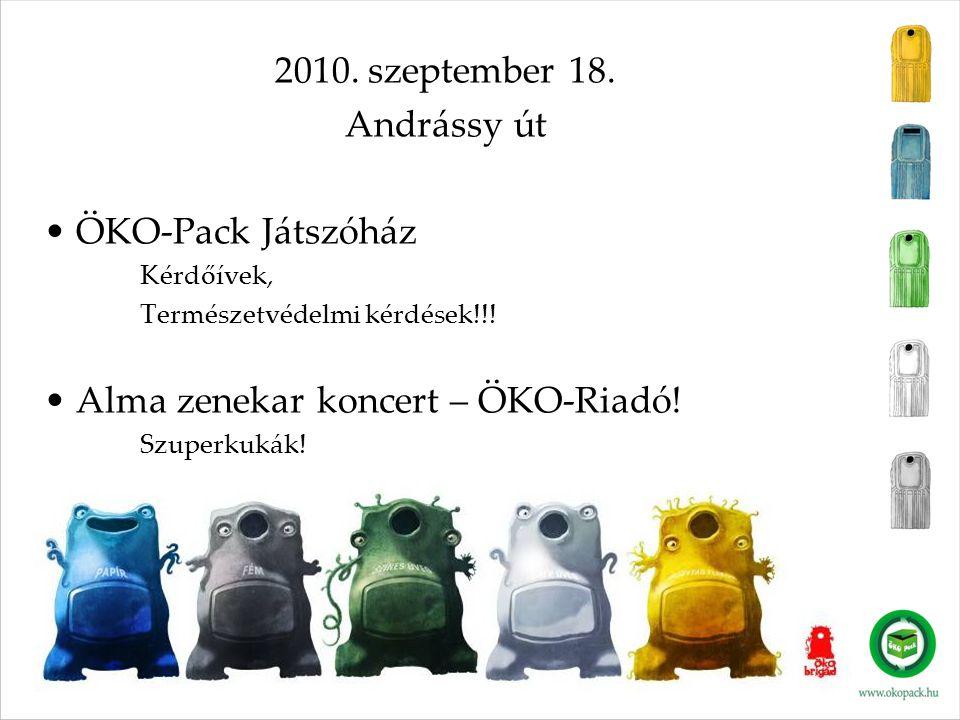 2010. szeptember 18. Andrássy út • ÖKO-Pack Játszóház Kérdőívek, Természetvédelmi kérdések!!! • Alma zenekar koncert – ÖKO-Riadó! Szuperkukák!