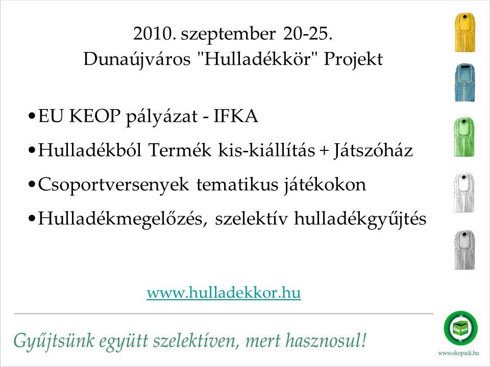 www.hulladekkor.hu 2010. szeptember 20-25. Dunaújváros