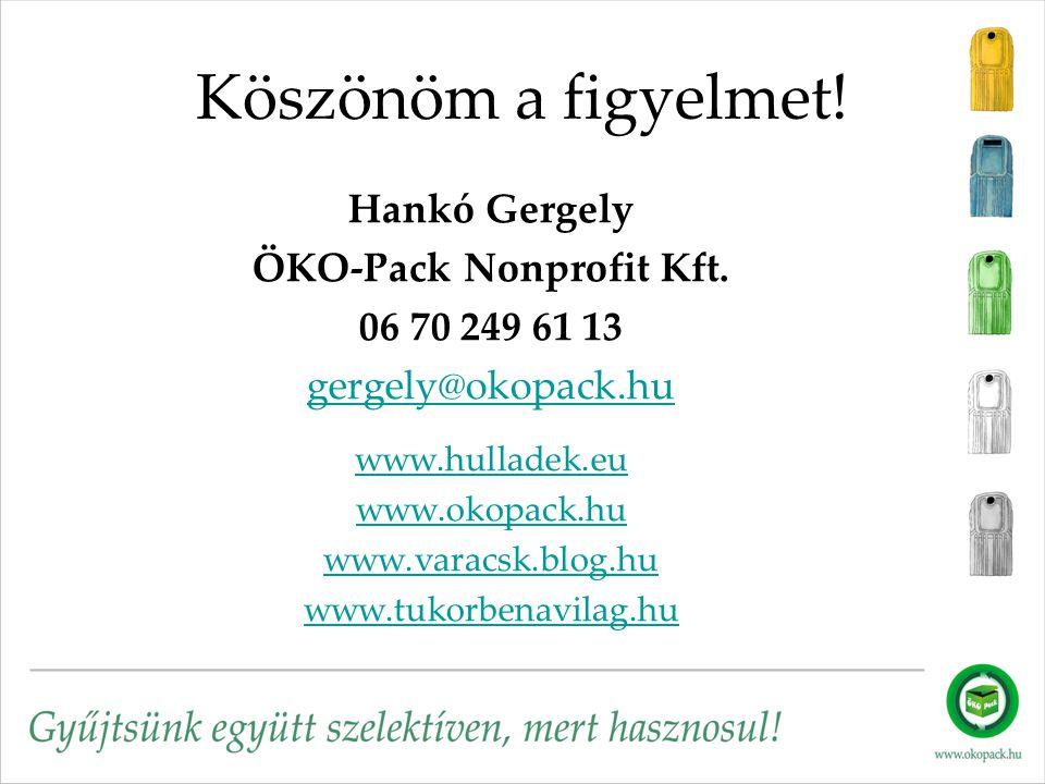 Köszönöm a figyelmet! Hankó Gergely ÖKO-Pack Nonprofit Kft. 06 70 249 61 13 gergely@okopack.hu www.hulladek.eu www.okopack.hu www.varacsk.blog.hu www.