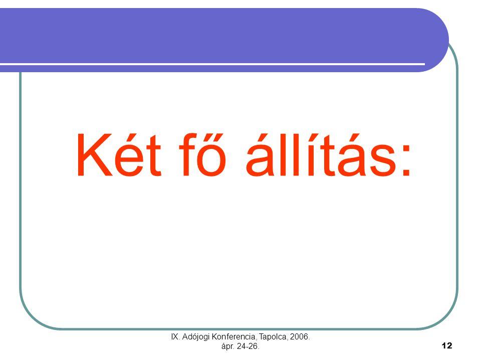 IX. Adójogi Konferencia, Tapolca, 2006. ápr. 24-26.12 Két fő állítás: