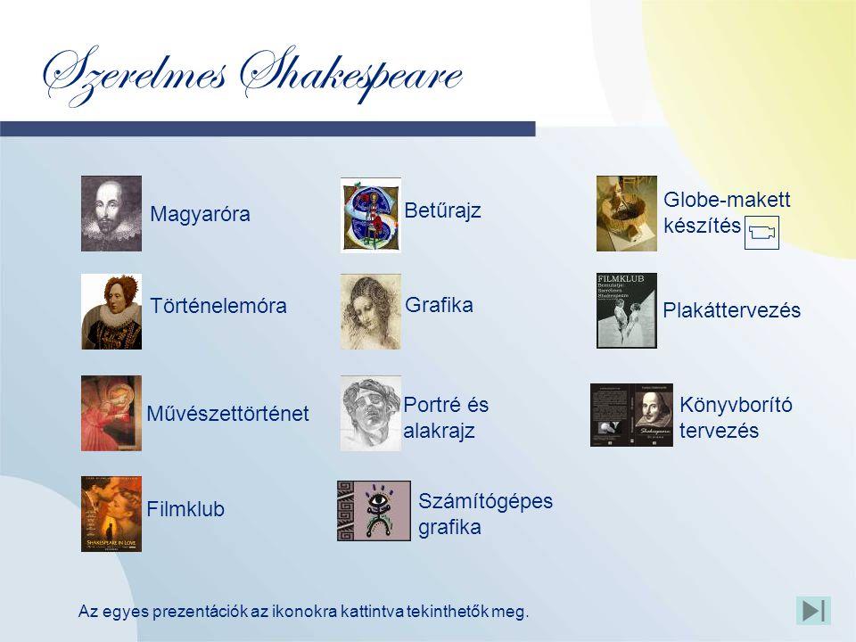 Szerelmes Shakespeare Globe-makett készítés Magyaróra Filmklub Plakáttervezés Történelemóra Betűrajz Portré és alakrajz Számítógépes grafika Művészettörténet Grafika Könyvborító tervezés Az egyes prezentációk az ikonokra kattintva tekinthetők meg.