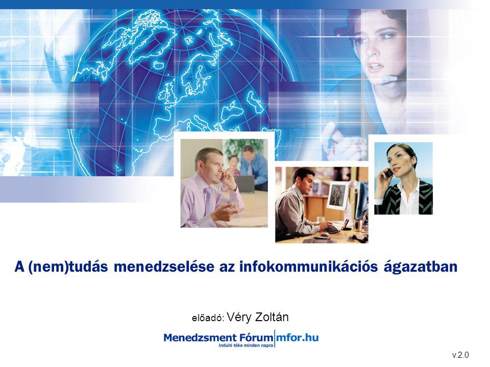 A (nem)tudás menedzselése az infokommunikációs ágazatban előadó: Véry Zoltán v.2.0