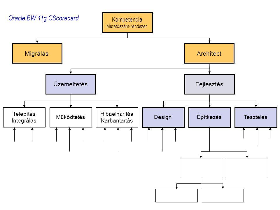 Kompetencia Mutatószám-rendszer MigrálásArchitect Telepítés Integrálás Működtetés Hibaelhárítás Karbantartás DesignÉpítkezés Tesztelés ÜzemeltetésFejlesztés Oracle BW 11g CScorecard