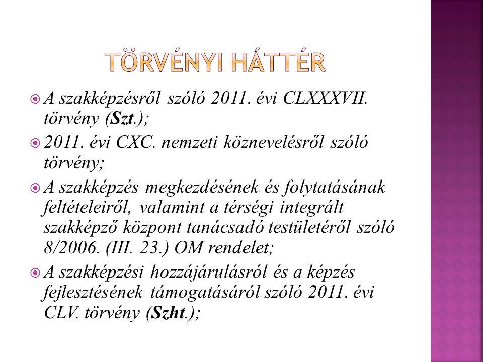  A szakképzésről szóló 2011. évi CLXXXVII. törvény (Szt.);  2011. évi CXC. nemzeti köznevelésről szóló törvény;  A szakképzés megkezdésének és foly