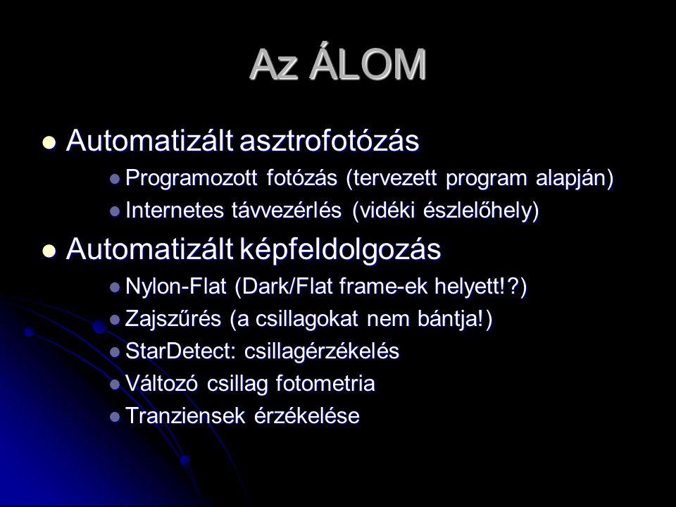 Az ÁLOM  Automatizált asztrofotózás  Programozott fotózás (tervezett program alapján)  Internetes távvezérlés (vidéki észlelőhely)  Automatizált képfeldolgozás  Nylon-Flat (Dark/Flat frame-ek helyett! )  Zajszűrés (a csillagokat nem bántja!)  StarDetect: csillagérzékelés  Változó csillag fotometria  Tranziensek érzékelése